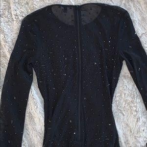 Fashion Nova Dresses - Mesh Rhinestone Black Midi Dress